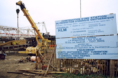 Chantier de géothermie en région parisienne , 1981 (Photo DREIF/Gobry)